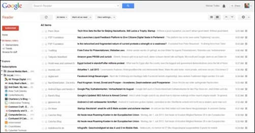 Google Reader River of News Ansicht